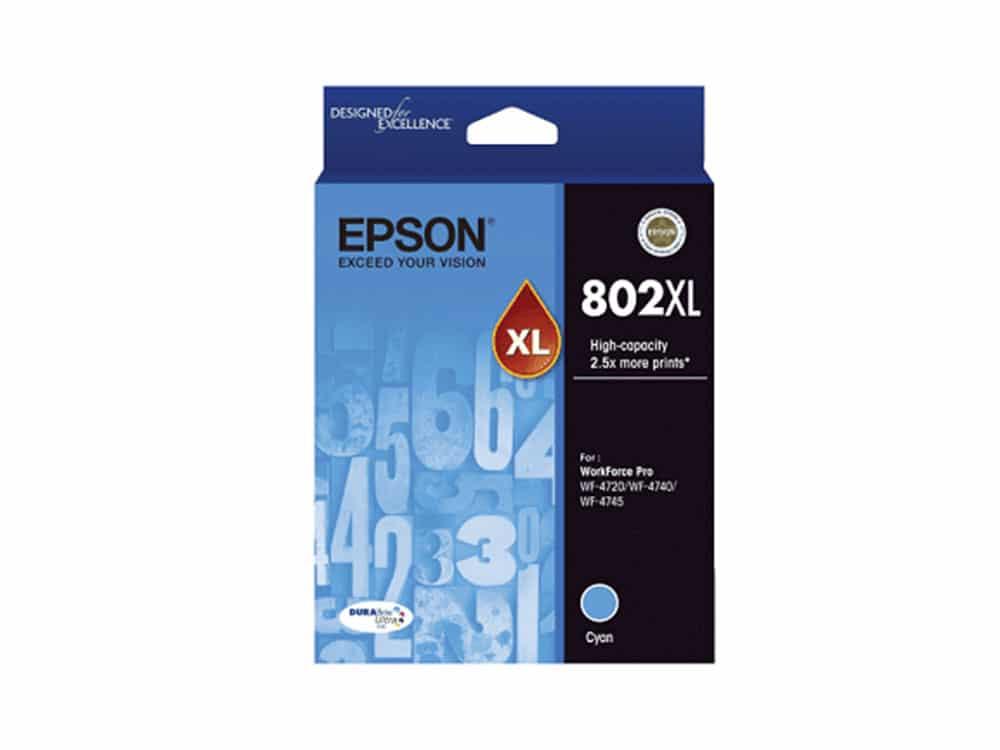 Genuine Epson 802XL Cyan Ink