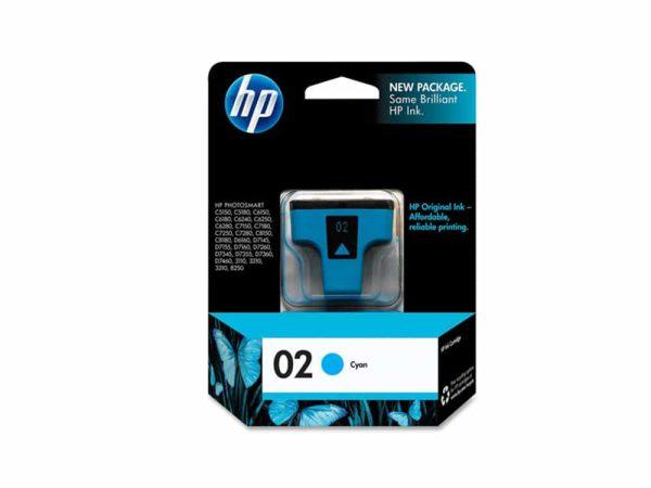 Genuine HP 02 Cyan Ink