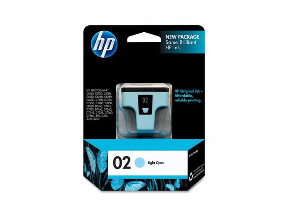 Genuine HP 02 Light Cyan Ink