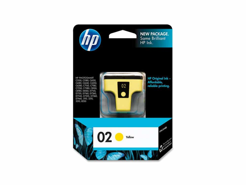 Genuine HP 02 Yellow Ink