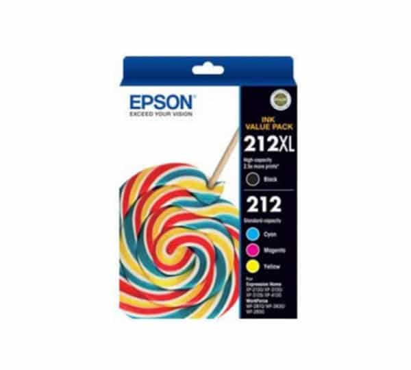 Genuine Epson 212 XL Black & 212 Std Colours – Black, Cyan, Magenta