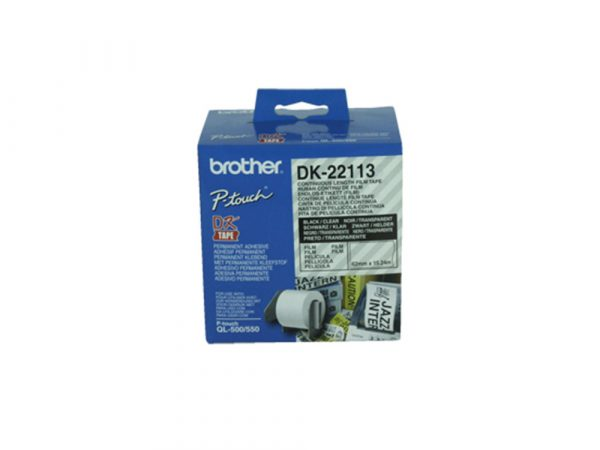 Genuine Brother DK22113 62mm Black on Clear Continuous Tape 15.24 metres