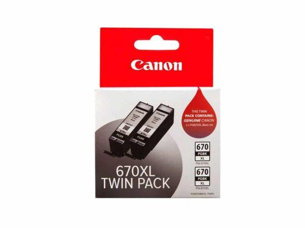 Genuine Canon PGI670 XL Black Twin Pack